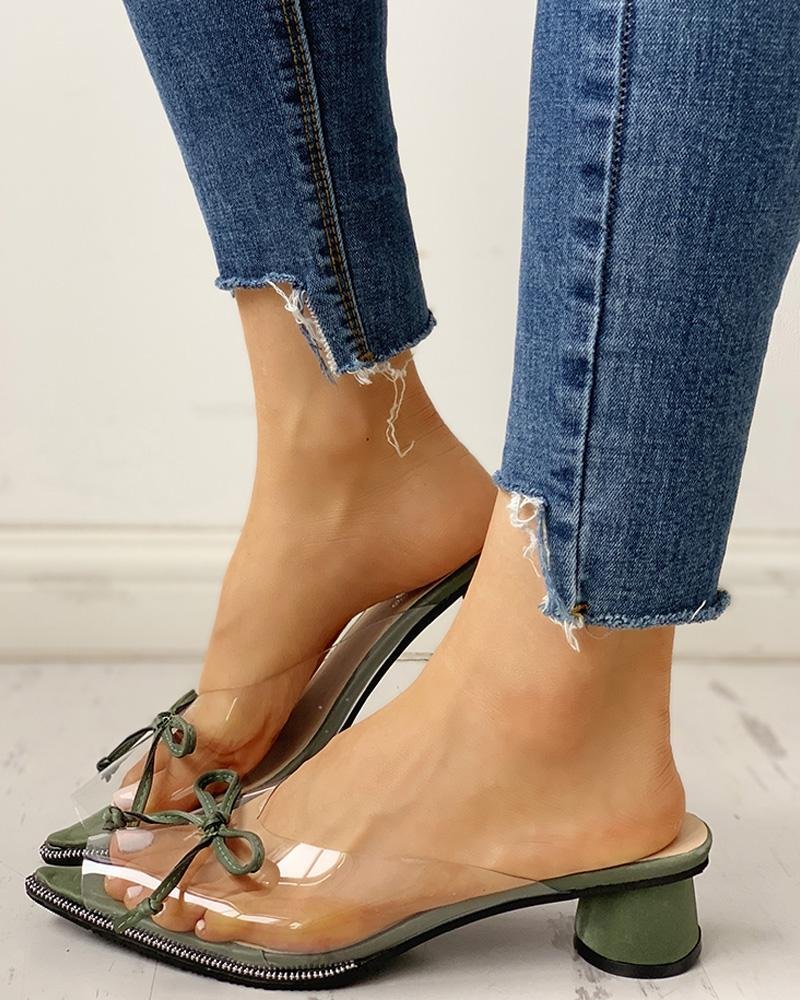 Transparent Pointed Toe Bowknot Sandals