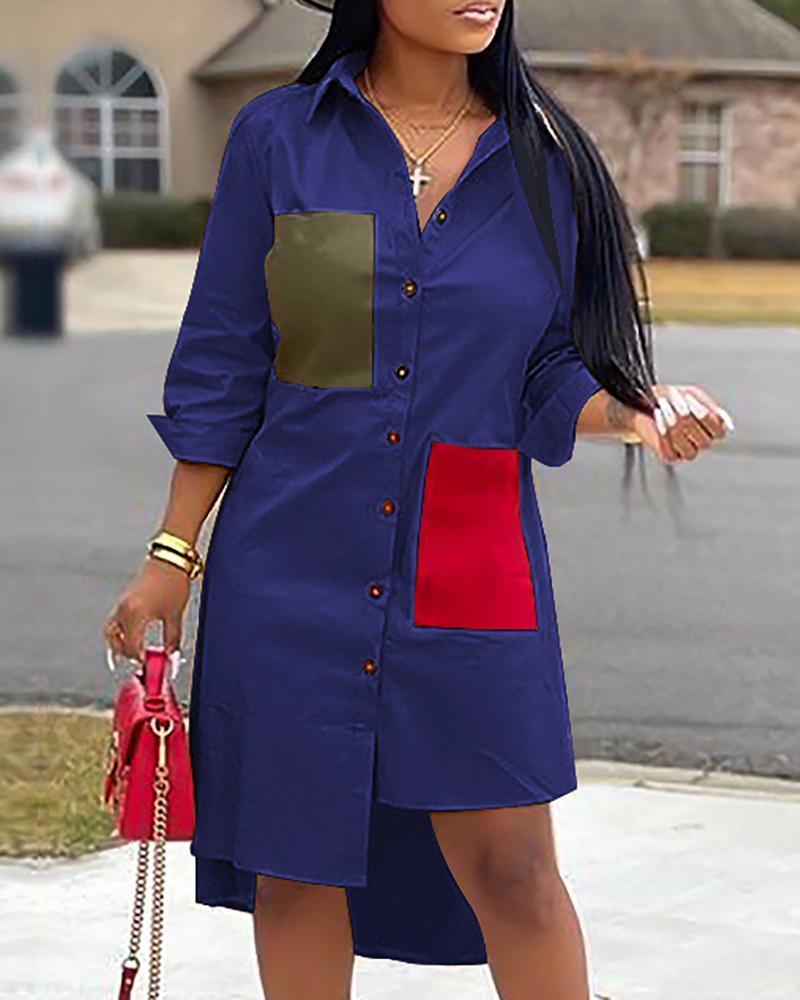 Colorblock Irregular Hem Shirt Dress, Blue