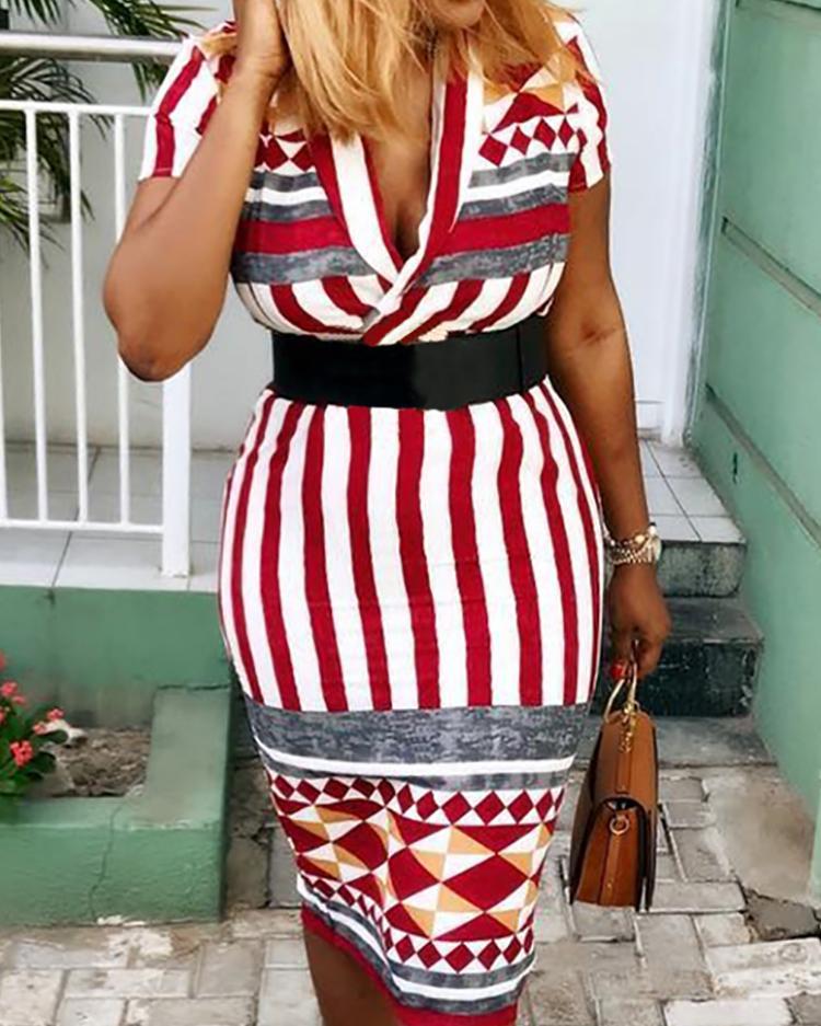 Geometric Print & Stripes Wrapped Dress фото