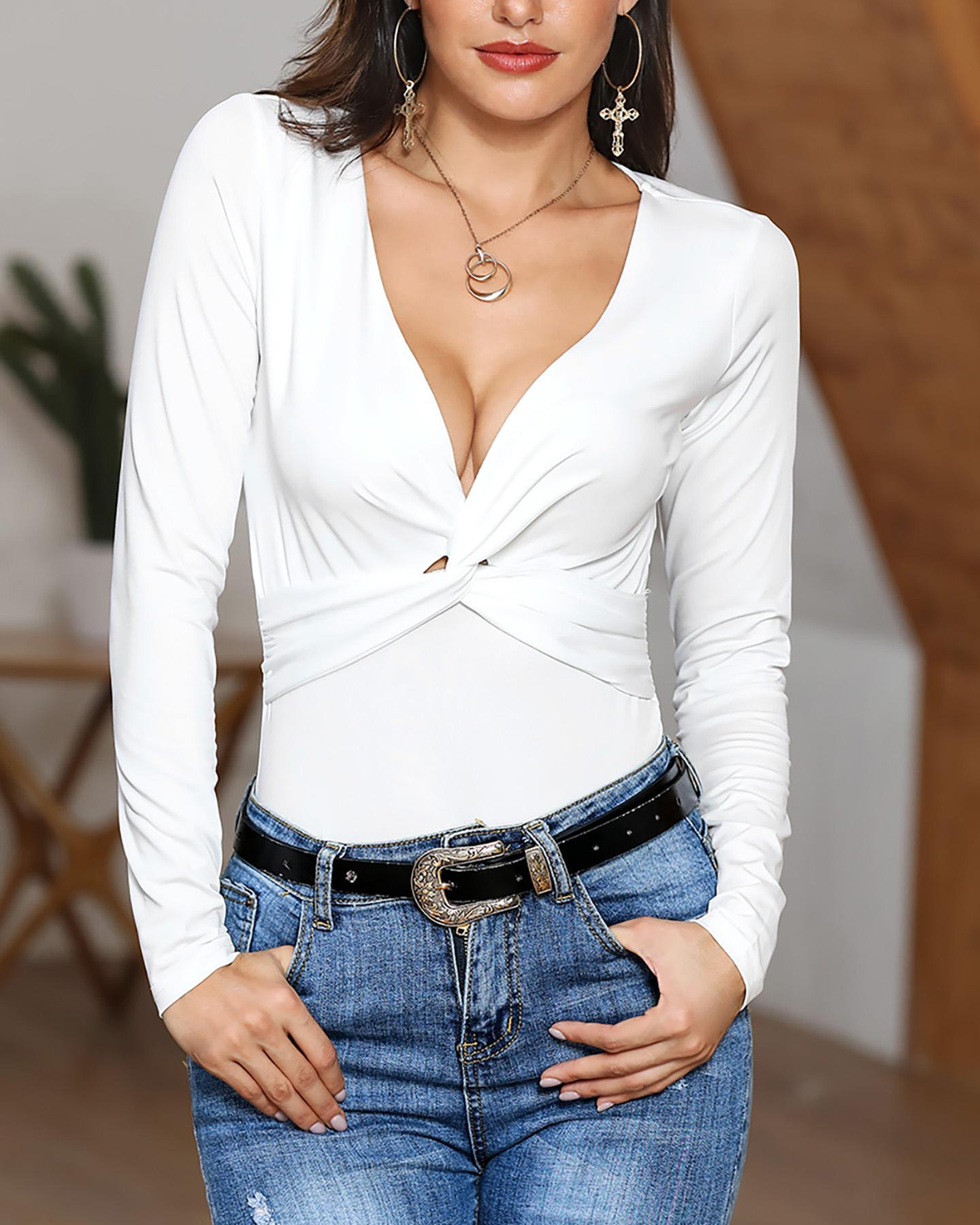 Long Sleeve Twisted Front Casual Top