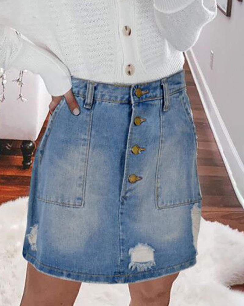 chicme / Ripped Buttoned Denim Design Denim Skirt
