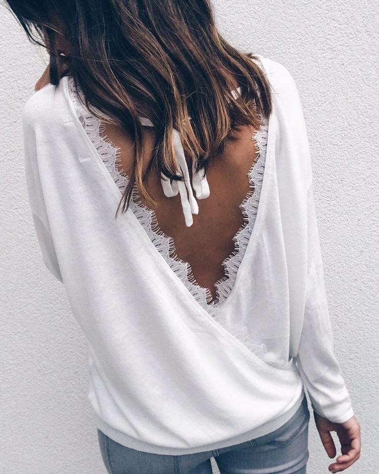 Wrapped Lace Open Back Casual Blouse фото