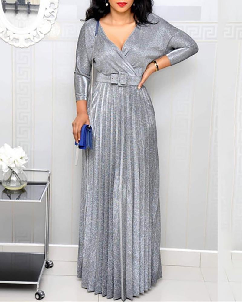 boutiquefeel / Vestido Maxi de mangas compridas com decote em V com brilho