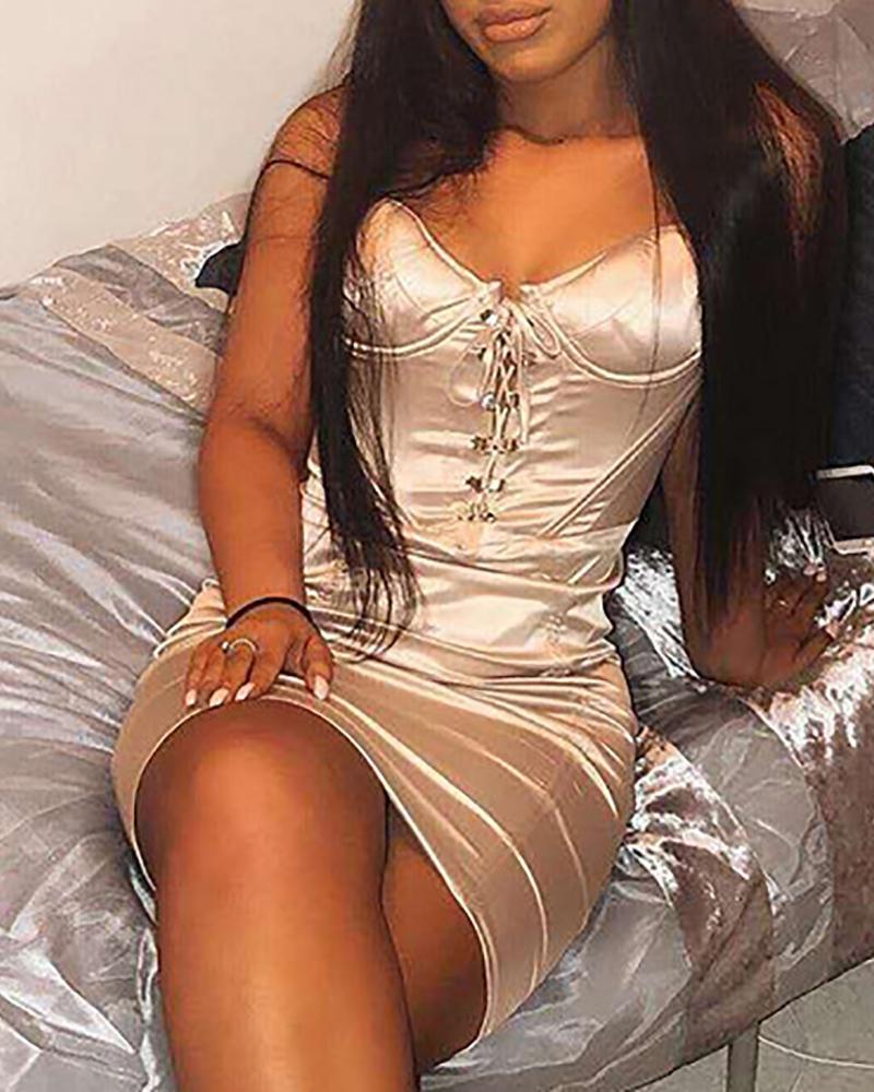 Satin Spaghetti Strap Lace-Up Dress фото