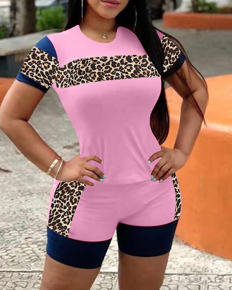 Cheetah Print Colorblock Top & Pocket Design Shorts Set фото