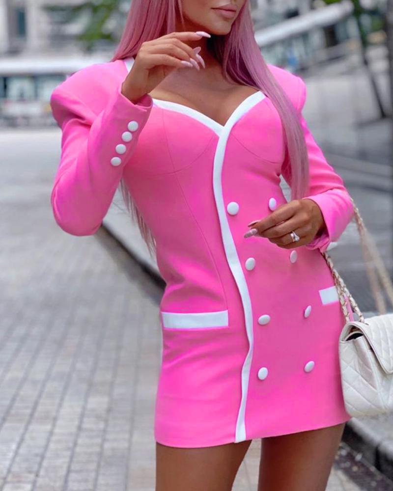 Buttoned Pocket Design Long Sleeve Colorblock Dress фото