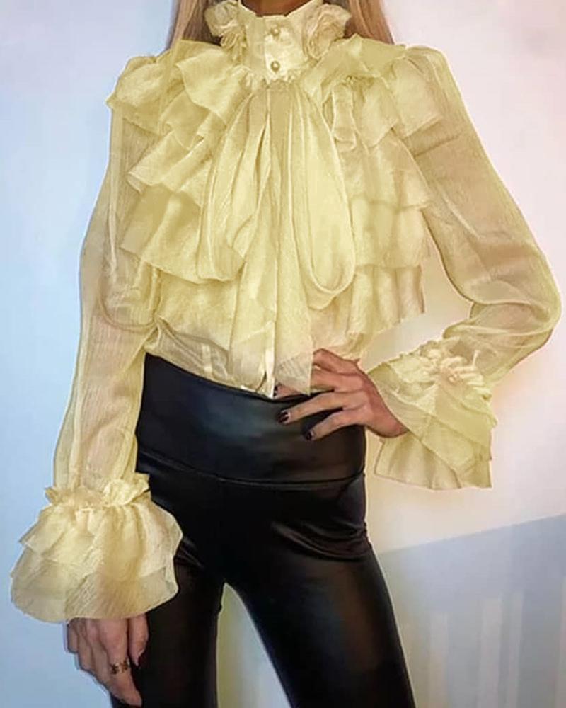 Semi Sheer Buttoned Ruffles Blouse фото