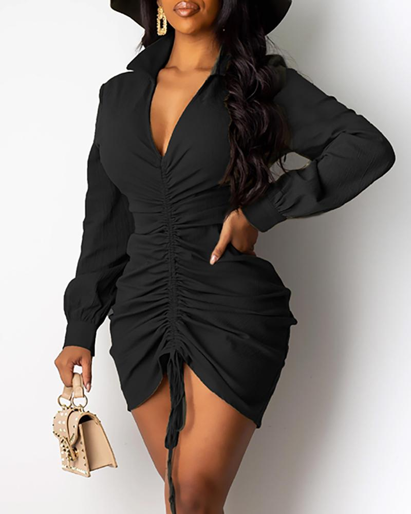 V Neck Drawstring Long Sleeve Bodycon Dress фото