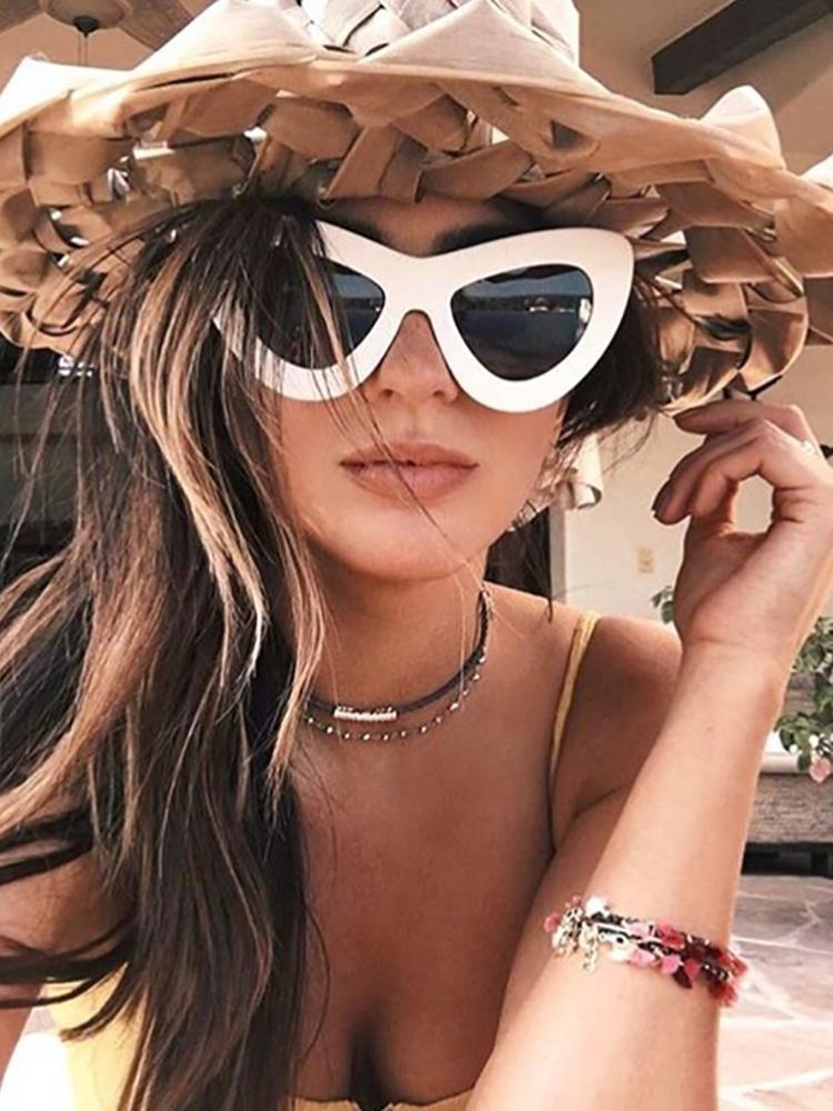 Butterfly Shape UV Protection Lens Sunglasses - White