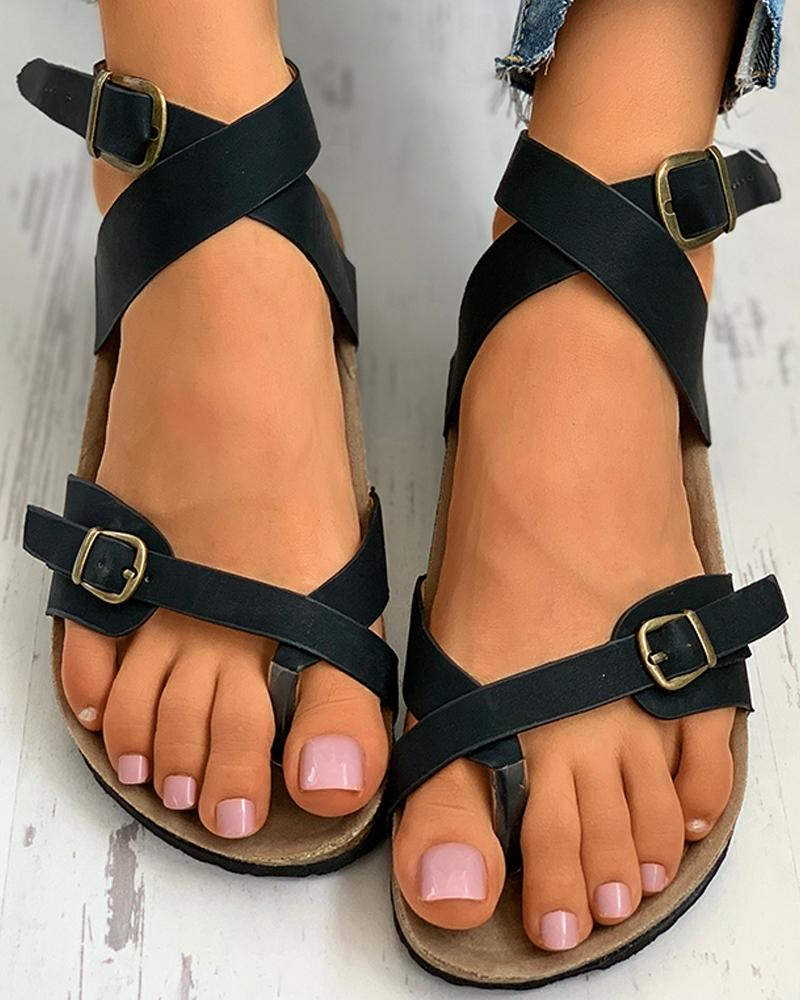 Toe Ring Ankle Strap Flat Sandals фото