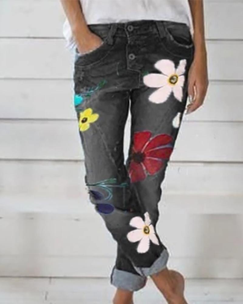 ivrose / Padrão floral bolsos abotoados calças jeans