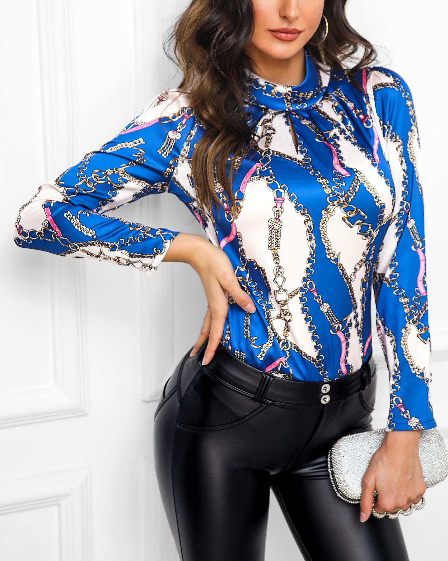 Colorblock Print Long Sleeve Glitter Blouse, Blue