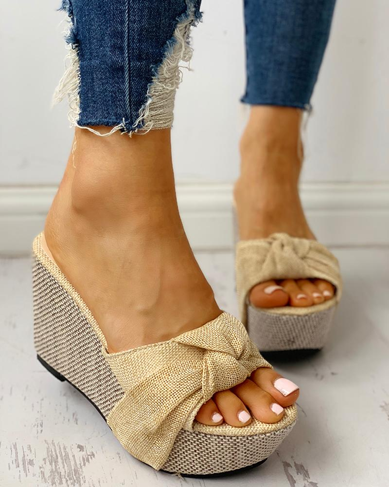 Twisted Knot Design Platform Wedge Sandals фото