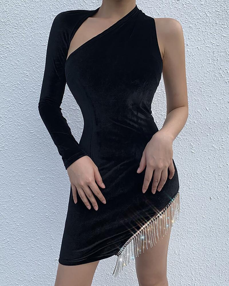 One Shoulder Backless Cut Out Tassel Irregular Hem Bodycon Dress фото