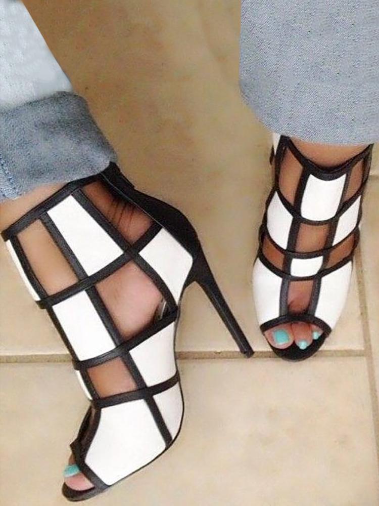 ivrose / Contraste Color Peep Toe Enjaulado Sandalias de tacón alto