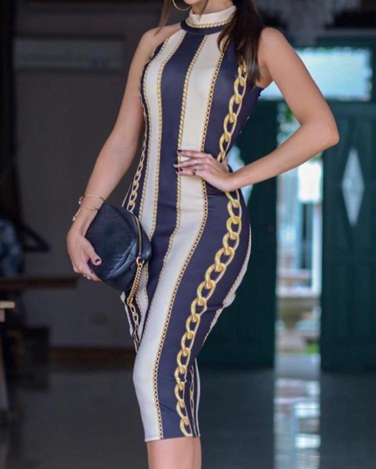 Chain Print Sleeveless Bodycon Dress