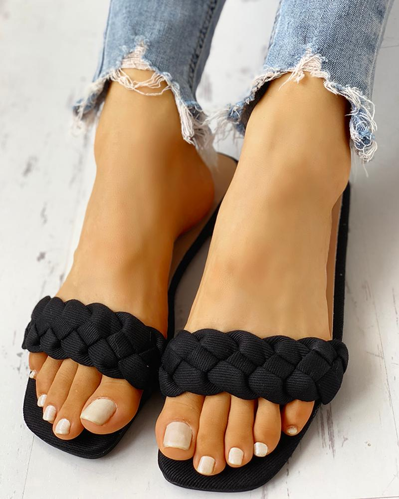 Braided Design Open Toe Flat Sandals