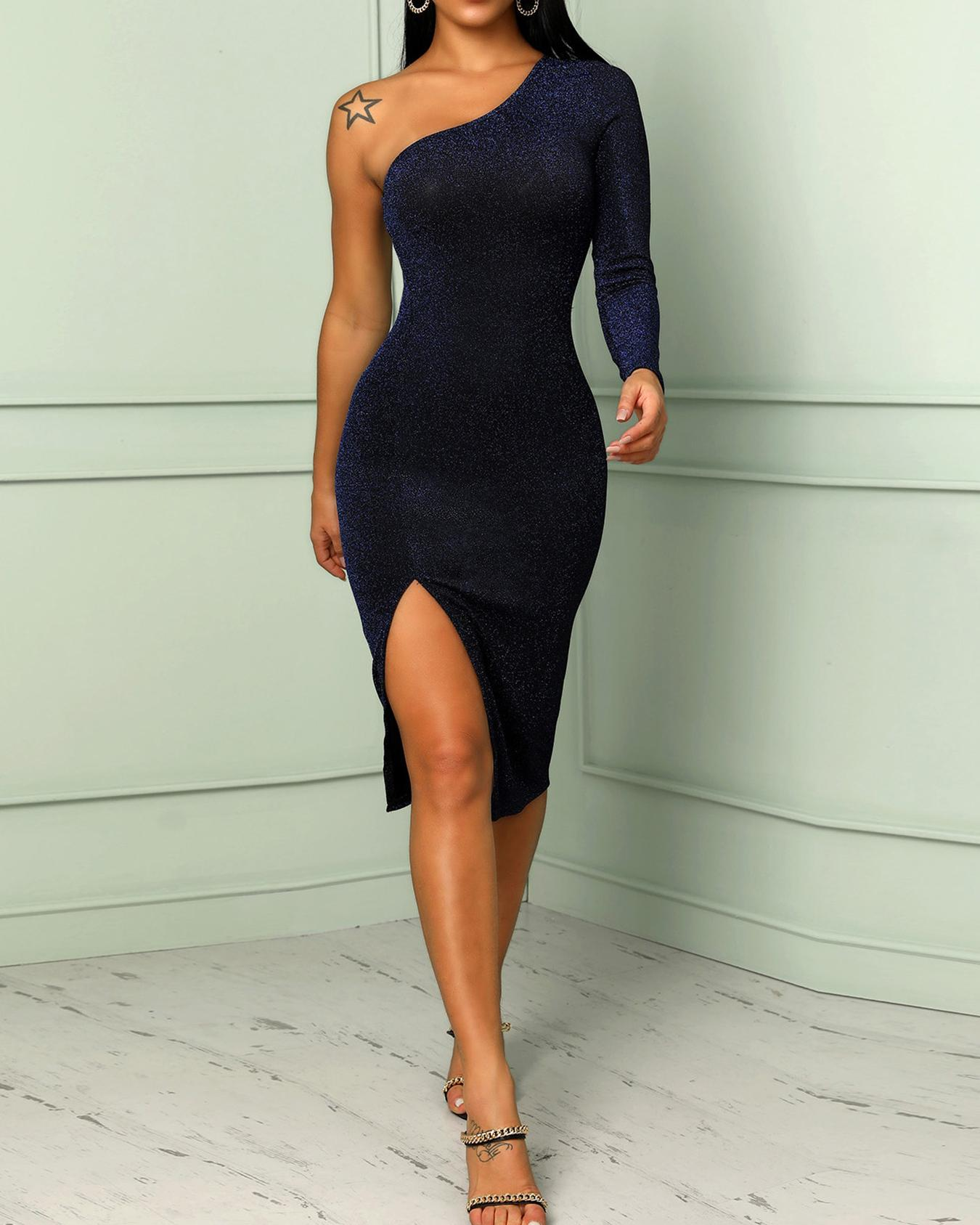 Shiny One Sleeve Thigh Slit Bodycon Dress, Blue