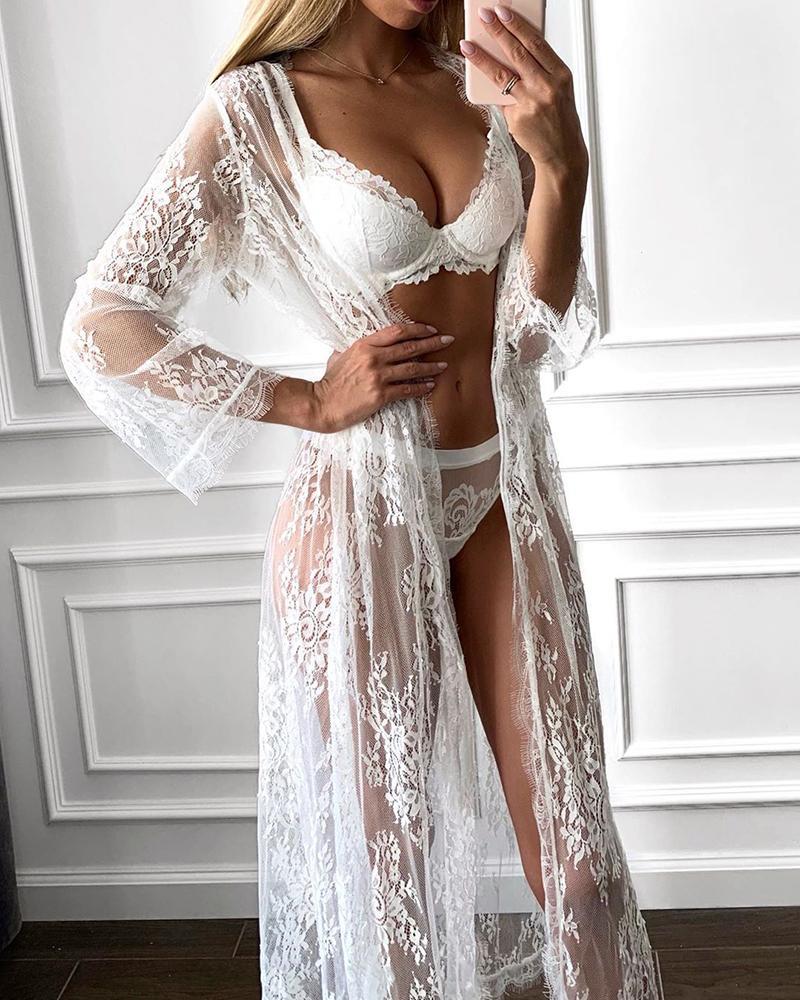 Lace Sheer Mesh Lingerie Set With Eyelash Lace Cardigan фото