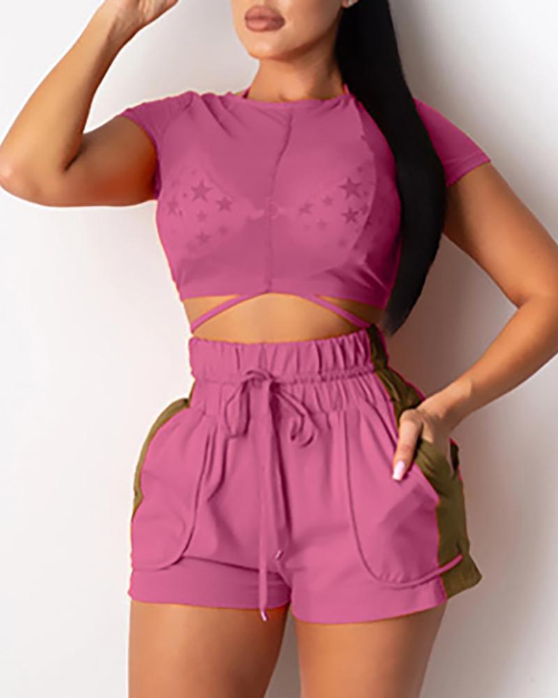 Sheer Mesh Top & Drawstring Pocket Design Shorts Set, Purple