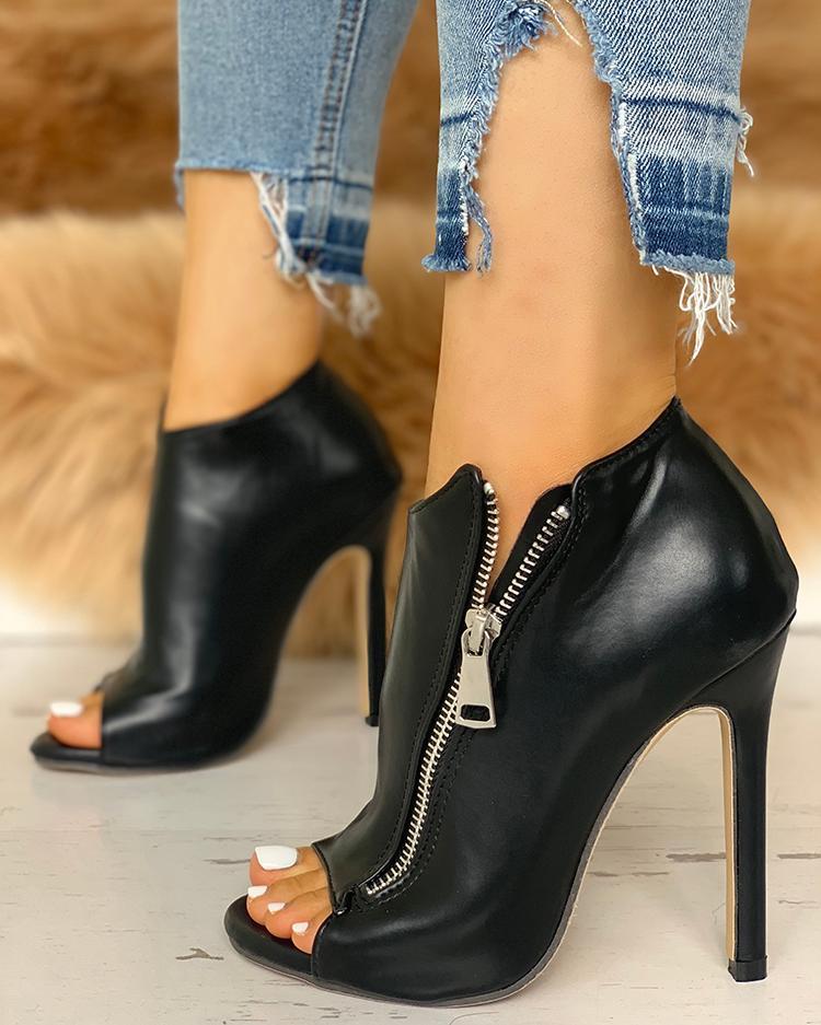 chicme / Zip Design Peep Toe Thin Heeled Boots
