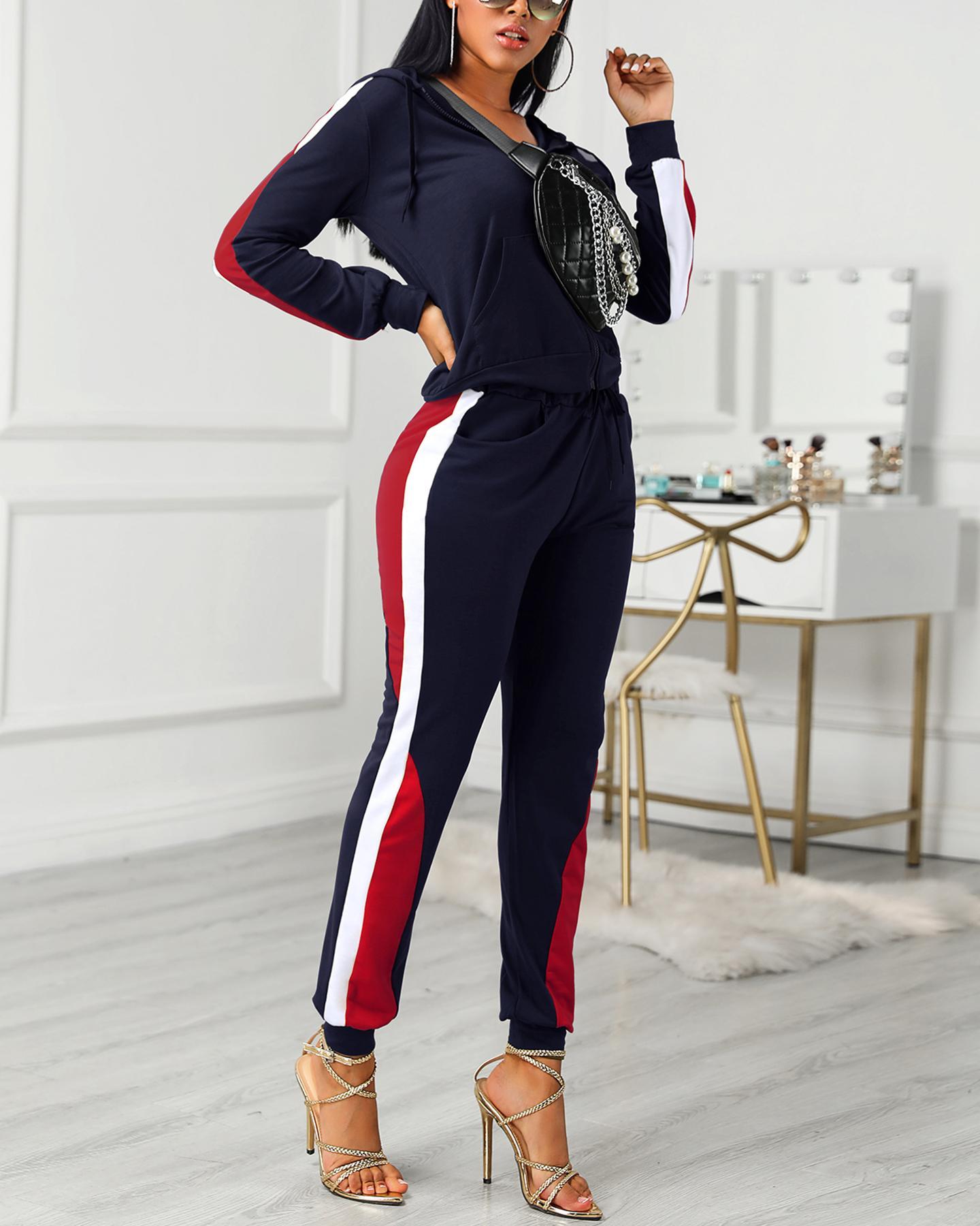 Colorblock Drawstring Design Zipped Top & Pant Sets, Dark blue
