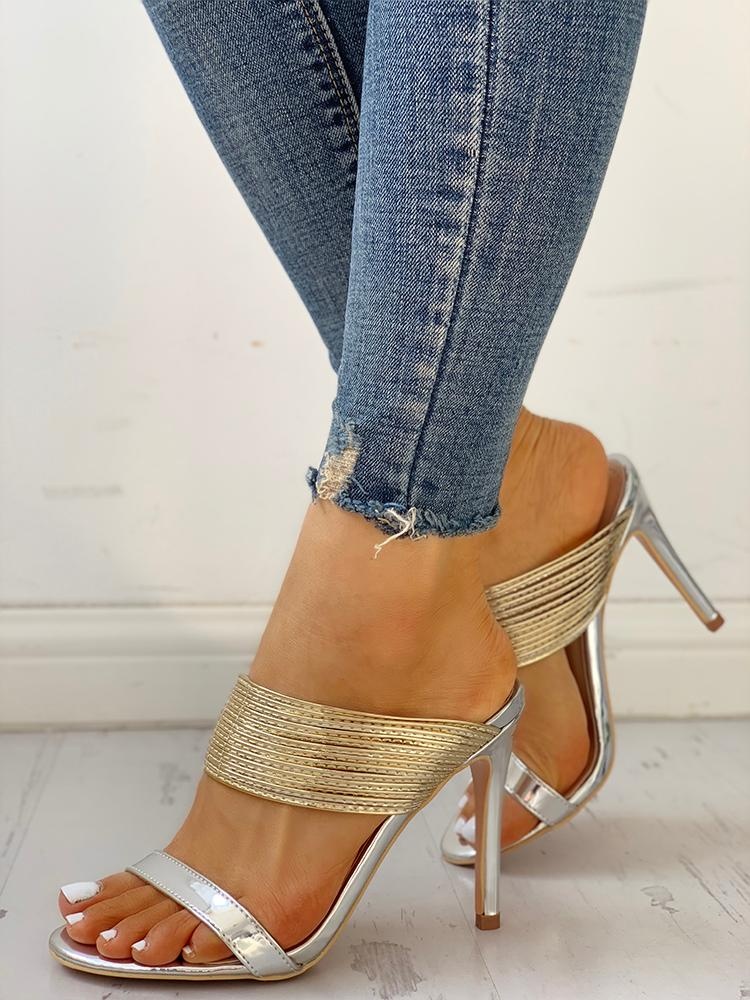 Metallic Multi-Strap Open Toe Thin Heeled Sandals