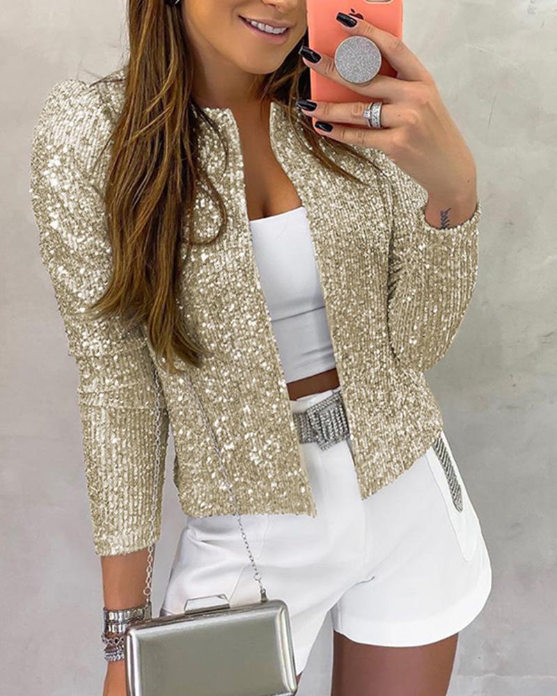 Long Sleeve Open Front Sequin Coat фото