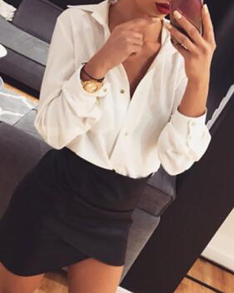 Button Design Long Sleeve V Neck Shirt фото