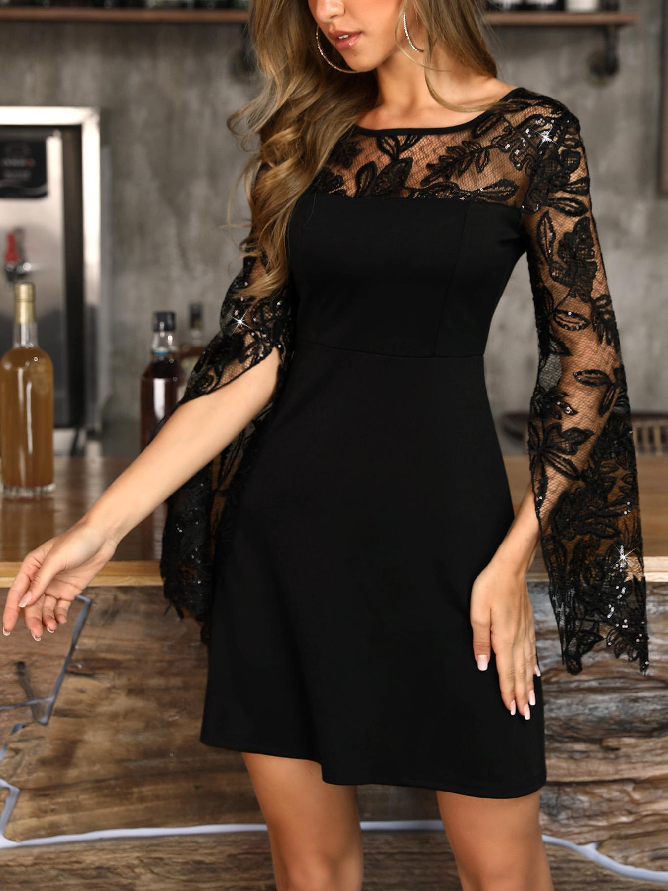 Lace Yoke Plant Applique Slit Sleeve Dress фото