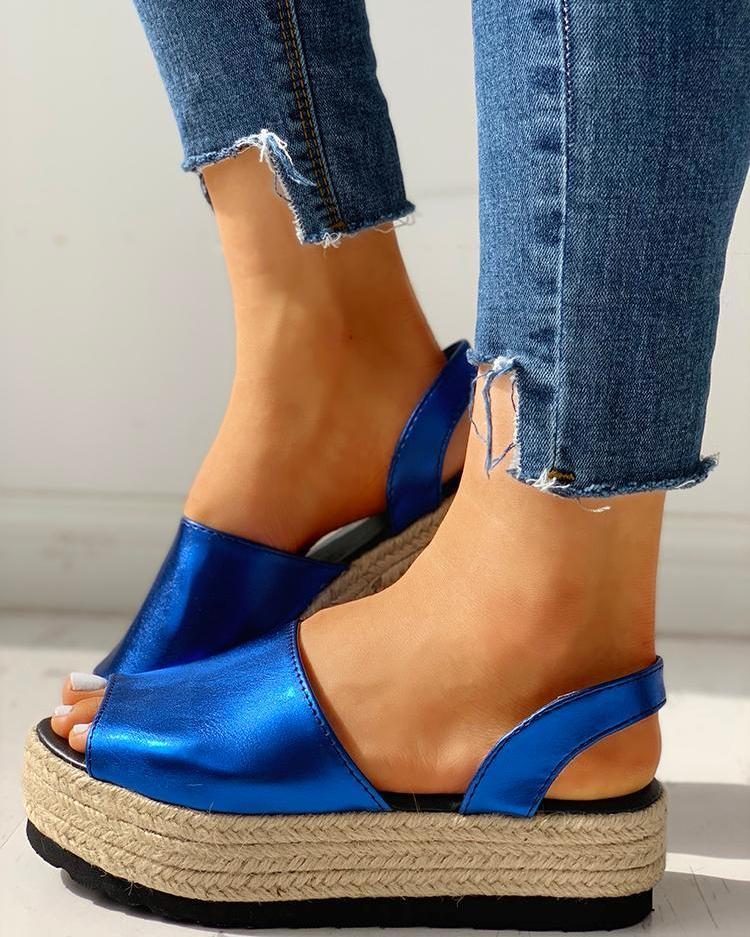 Peep Toe Slingback Espadrille Platform Sandals, Dark blue
