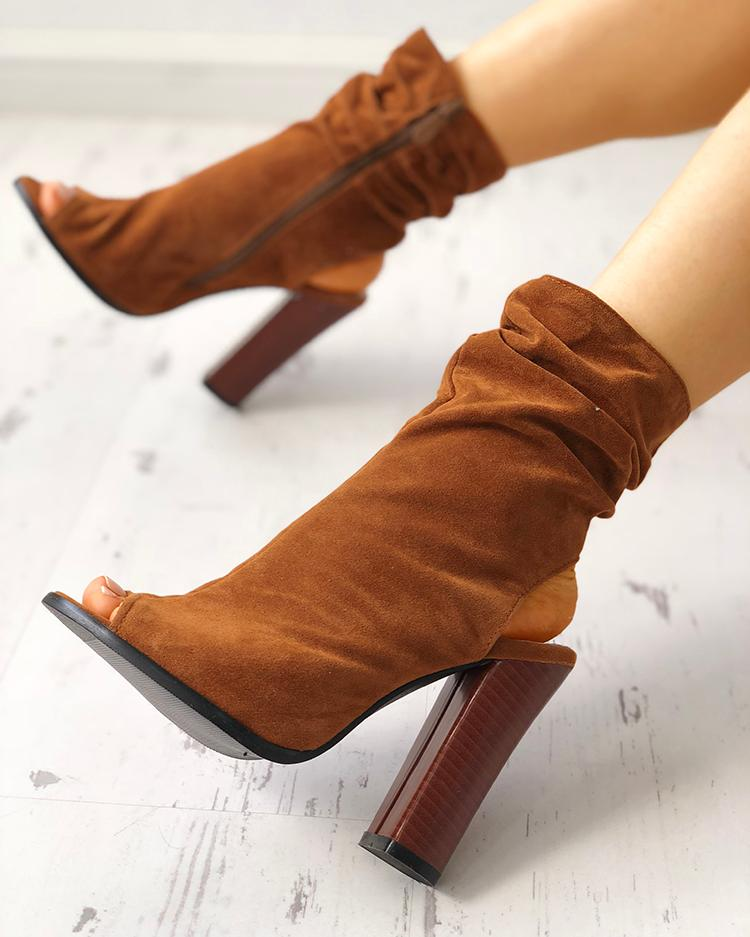 Zipper Up Peep Toe Slingbacks Chunky Heeled Boots
