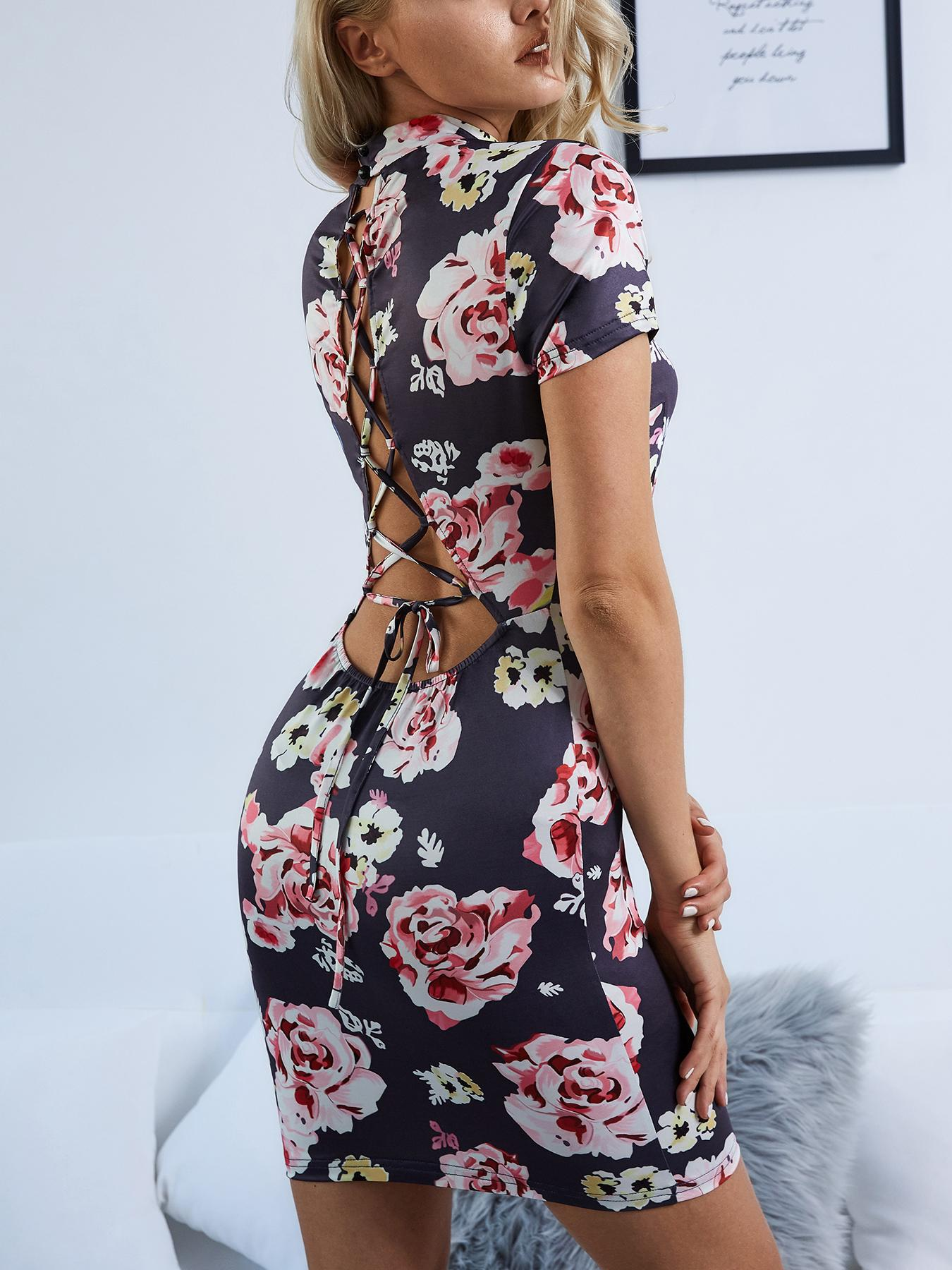 Sexy Backless Lace-Up Floral Print Minni Dress