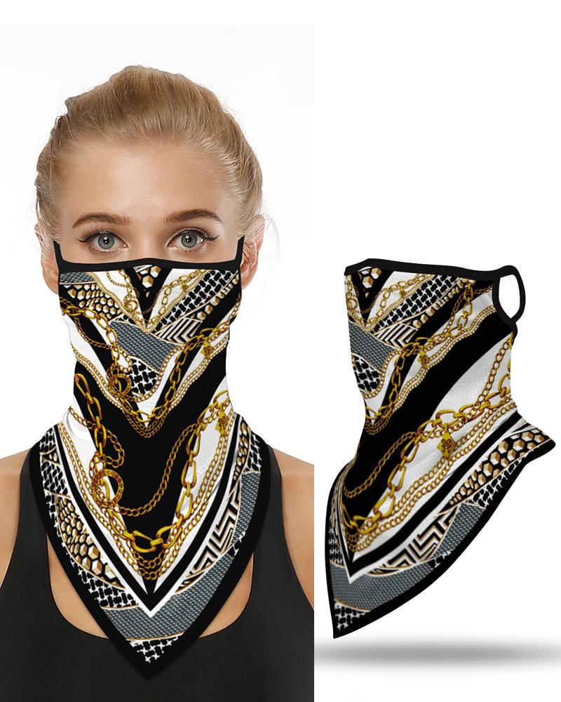 Chain Print Breathable Ear Loop Face Cover Windproof Bandana Outdoors фото