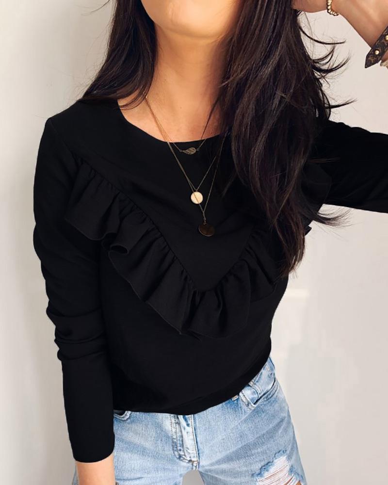 chicme / Blusa de manga larga con cuello redondo y diseño de volantes