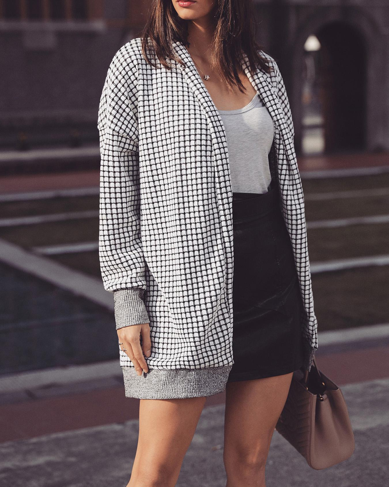 Solid Open Front Grid Casual Coat
