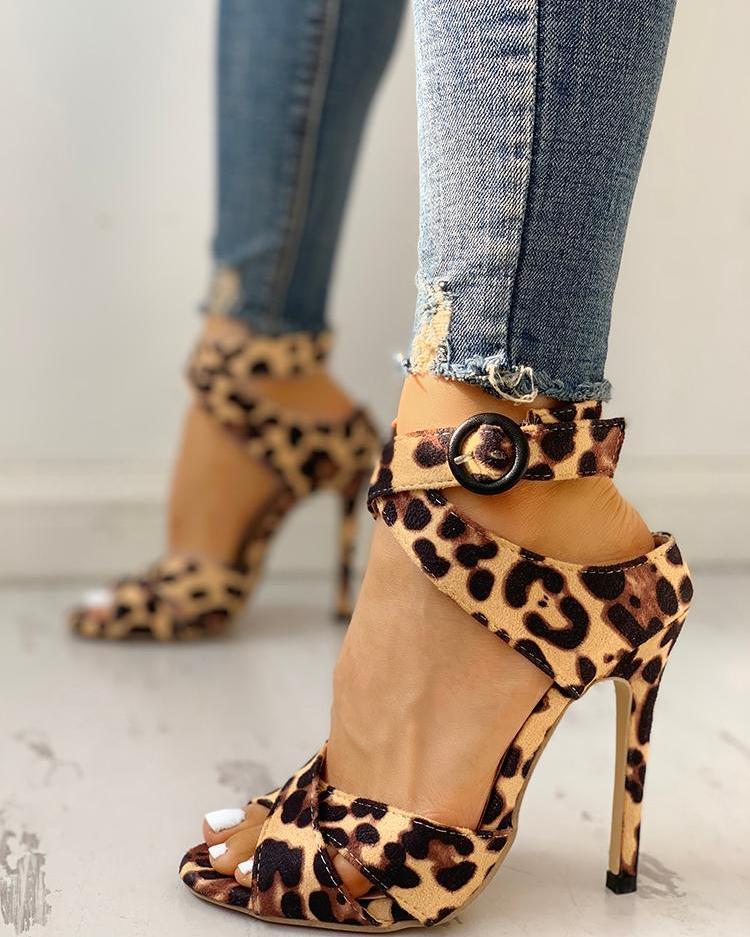 ivrose / Leopard Crisscross Ankle Buckle Thin Heeled Sandals