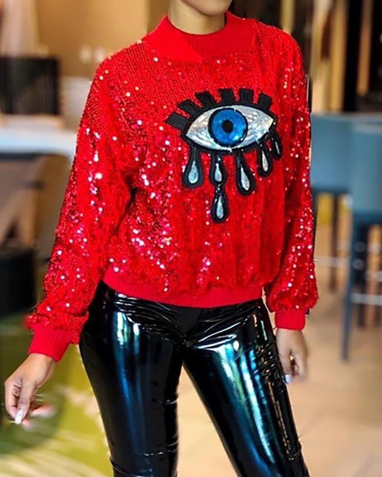 Eye Pattern Sequin Long Sleeve Sweatshirt фото