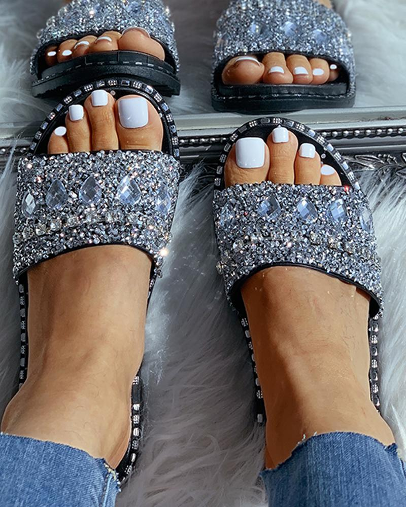 Studded Open Toe Flat Sandals, Silver