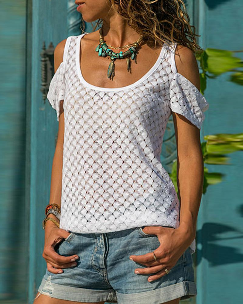 Cold Shoulder Hollow Out Casual Blouse фото