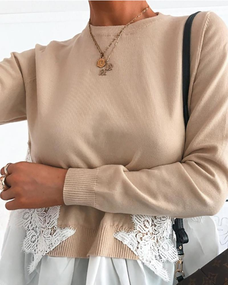 Lace Long Sleeve Knitted Casual Sweater фото