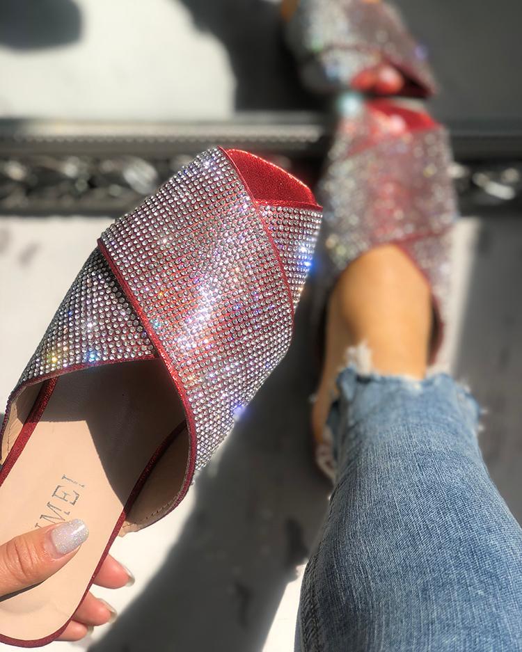 Shiny Sequins Embellished Crisscross Sandals