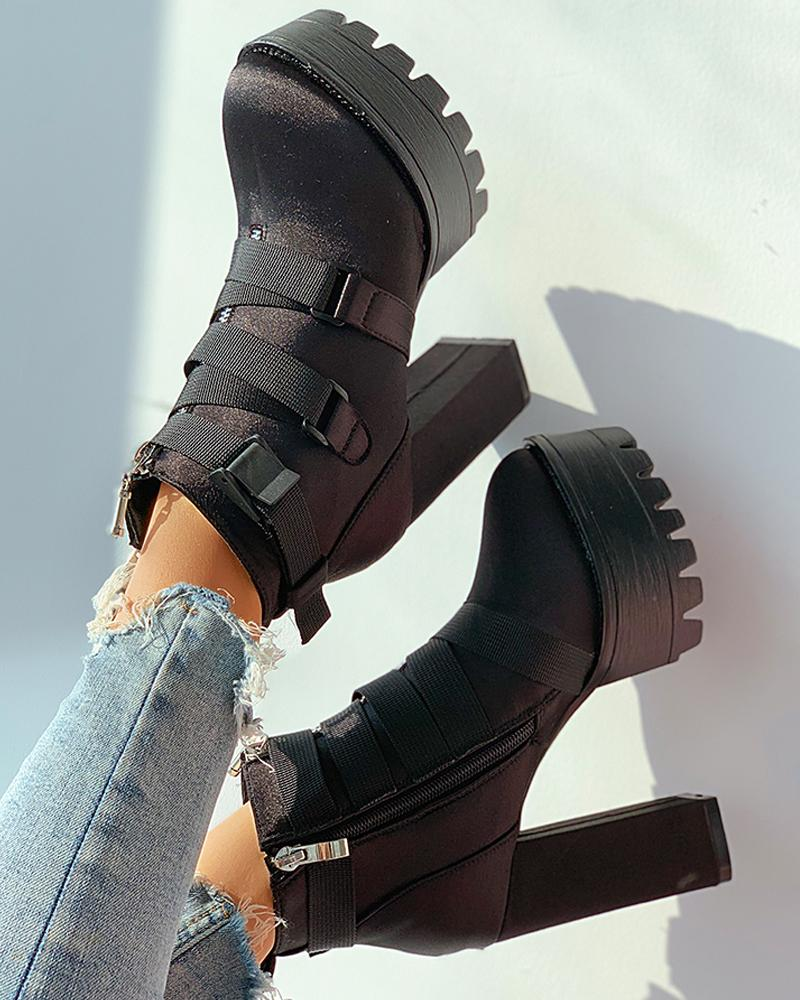 Zipper Design Buckled Chunky Boots
