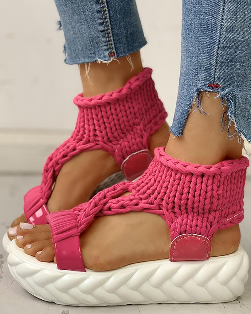 Knitted Cutout Crisscross Muffin Sandals фото