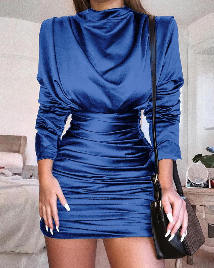 Cutout Back Ruched Bodycon Party Dress, Blue