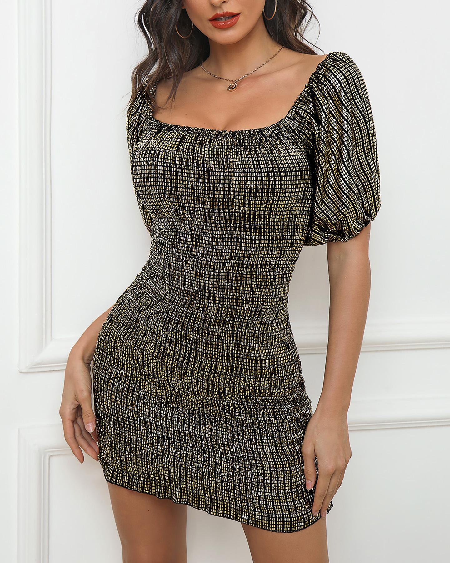 ivrose / Vestido de lantejoulas com decote quadrado e brilho