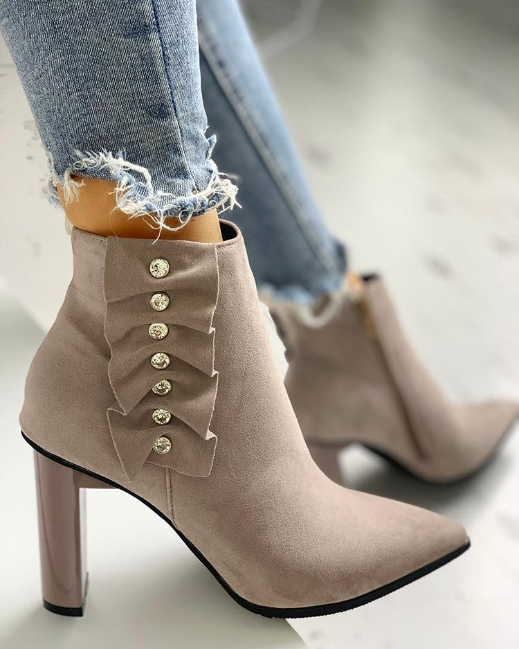 Suede Pointed Toe Chunky Heeled Boots