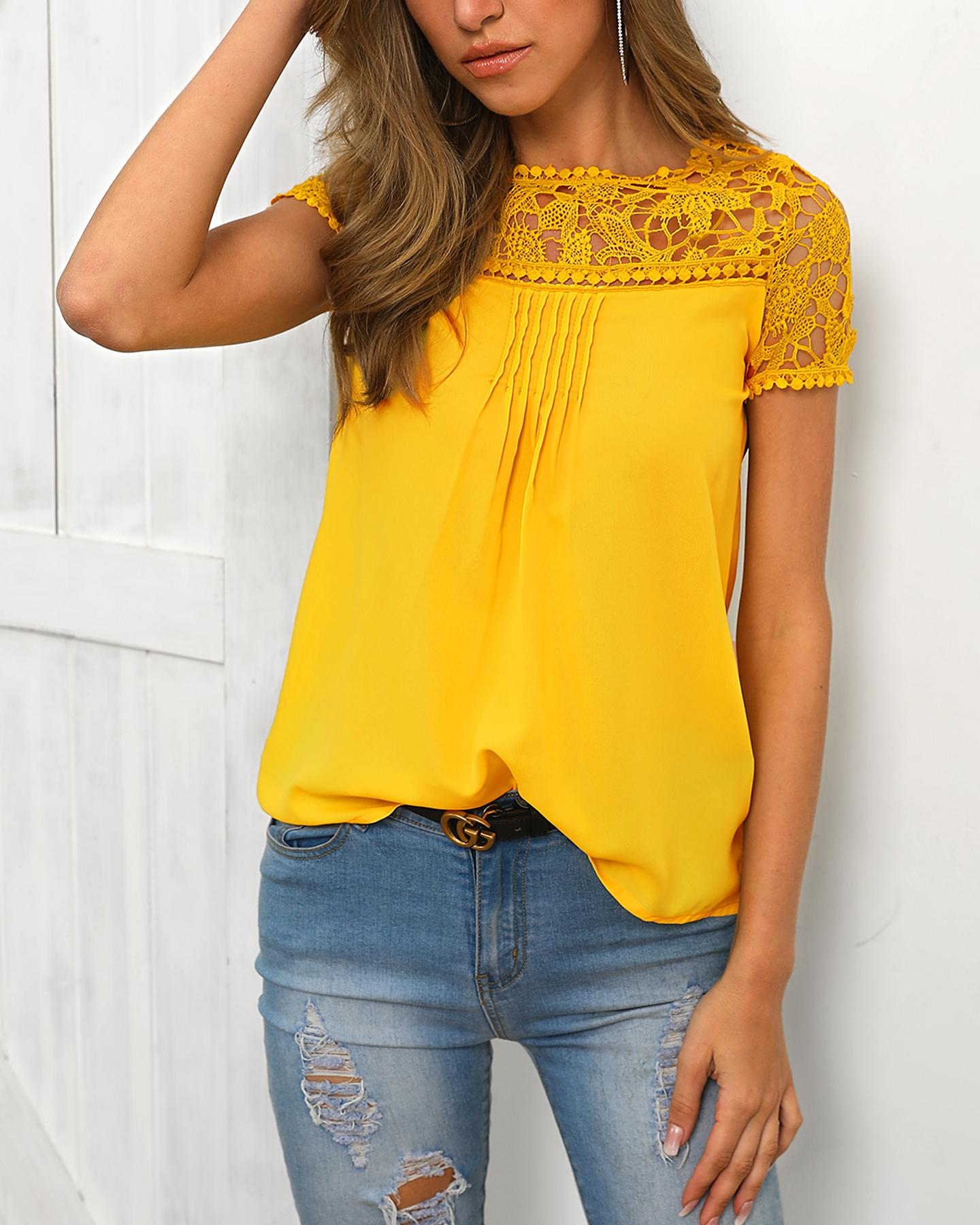 Lace Insert Short Sleeve Casual T-shirt