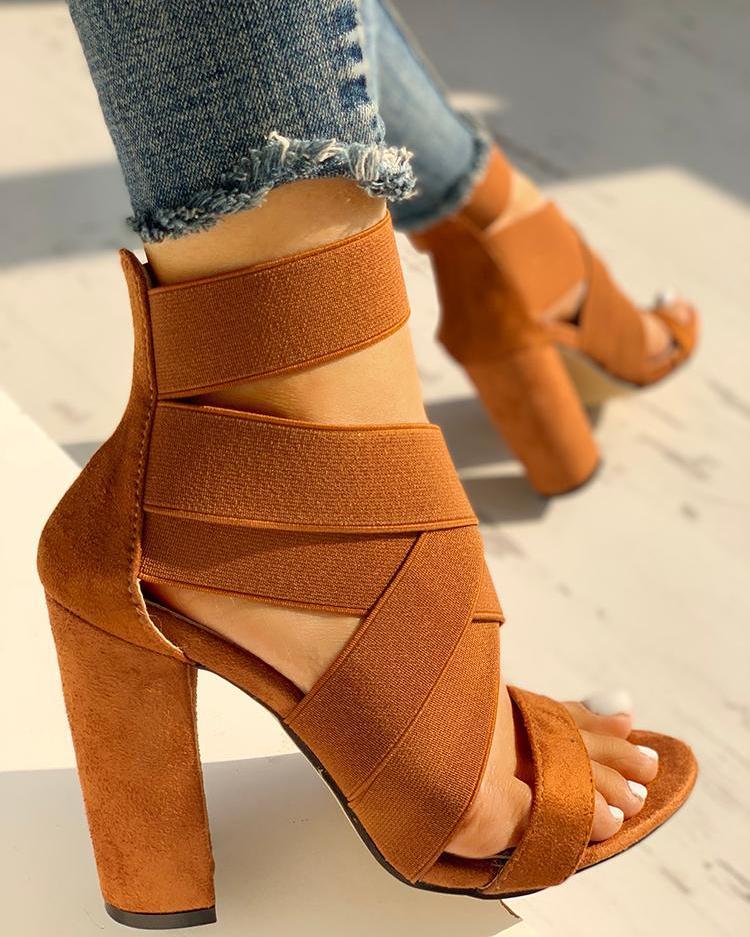 Bandage Crisscross Chunky Heeled Sandals