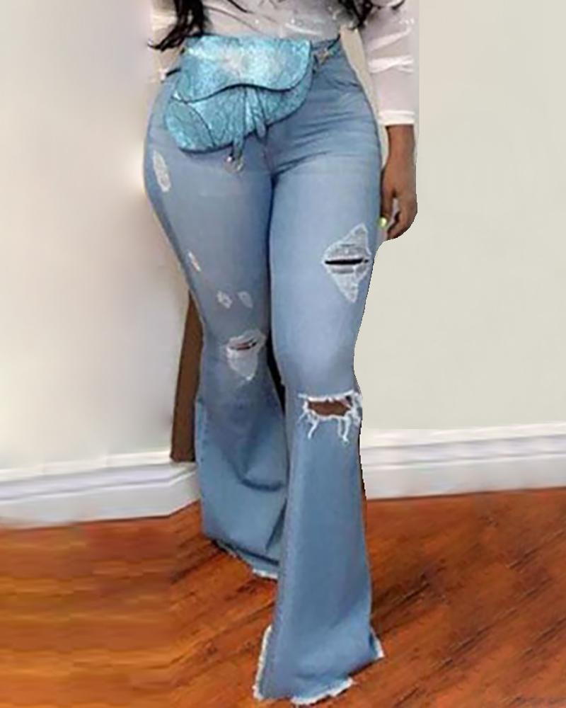 boutiquefeel / Pantalones vaqueros rotos con cintura baja y bolsillo
